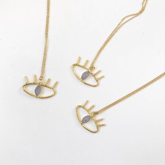 Druzy Evil Eye Necklace