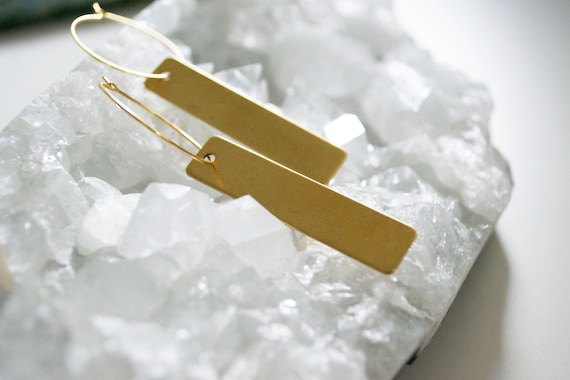 Brass Bar Earring // brass bar hoop earring trendy simple statement earring
