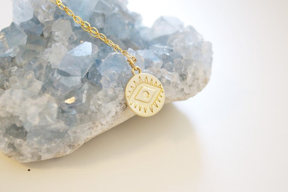 Evil Eye Coin Necklace // gold coin disc stamped evil eye delicate charm layering necklace