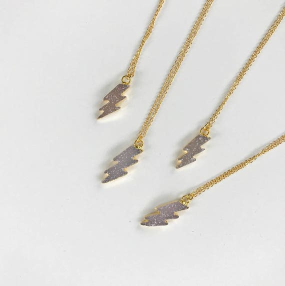 SALE // Lightning Bolt Necklace // druzy lightning bolt delicate necklace