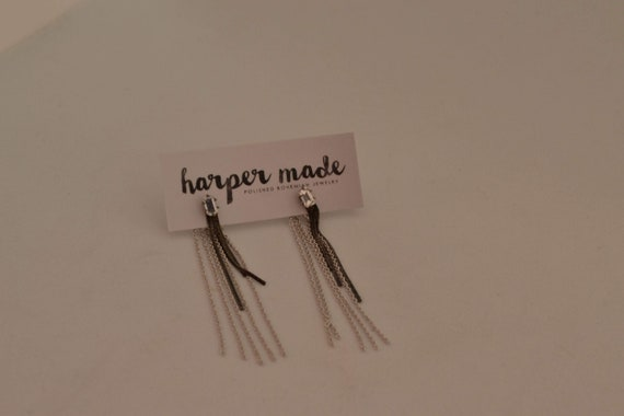 Vintage square cut studs with drop chain