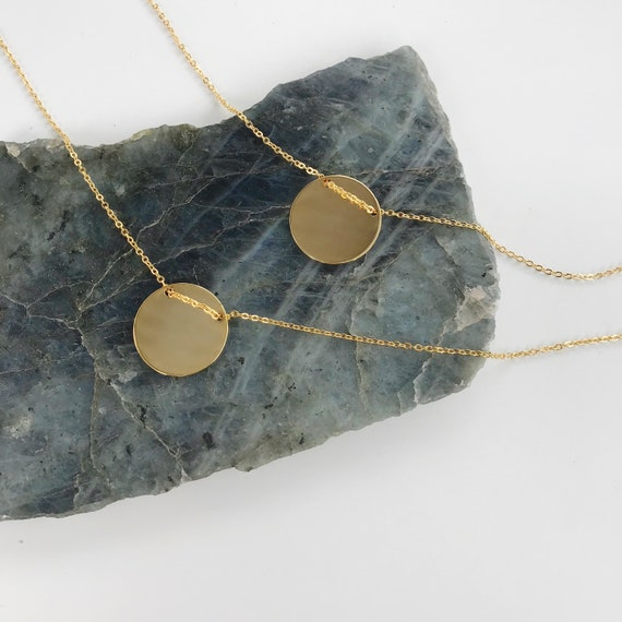 Chloe Coin Necklace // gold plated disc coin medallion necklace