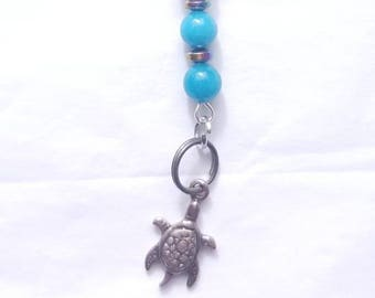 Silver Turtle Charm Keychain, with Quartzite and Shell Beads