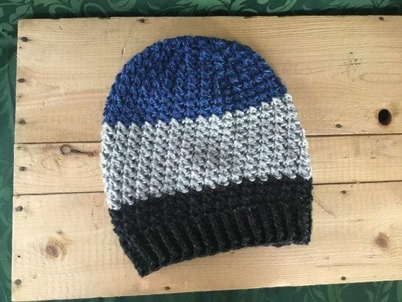 e185ab1f125 Crochet Color Block Slouchy Beanie Hat