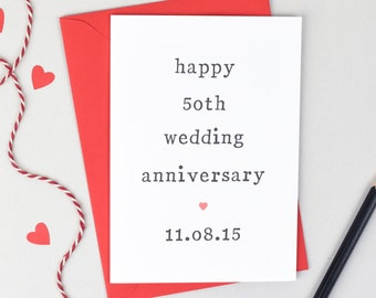 Numbered Wedding Anniversary Card - Personalised Card - Personalised Date Card - Anniversary Card - Milestone Anniversary Card