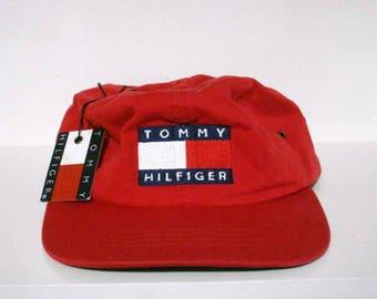 vintage tommy hilfiger big flag logo strapback hat alpine lotus sailing  athletics outdoors sport ivy 4d5484202de2