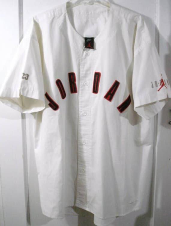 vintage nike air jordan baseball jersey sz xl ivy