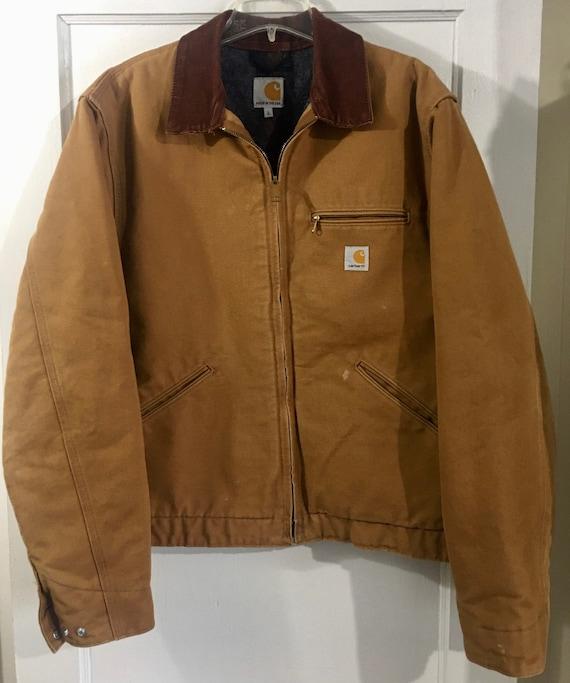 vintage brown Carhartt union made duck jacket sz L