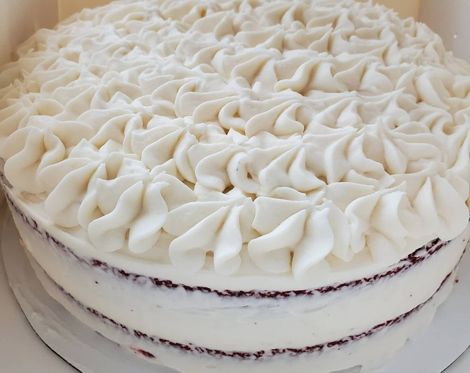 Red velvet cake with vanilla buttercream. *only sold locally*