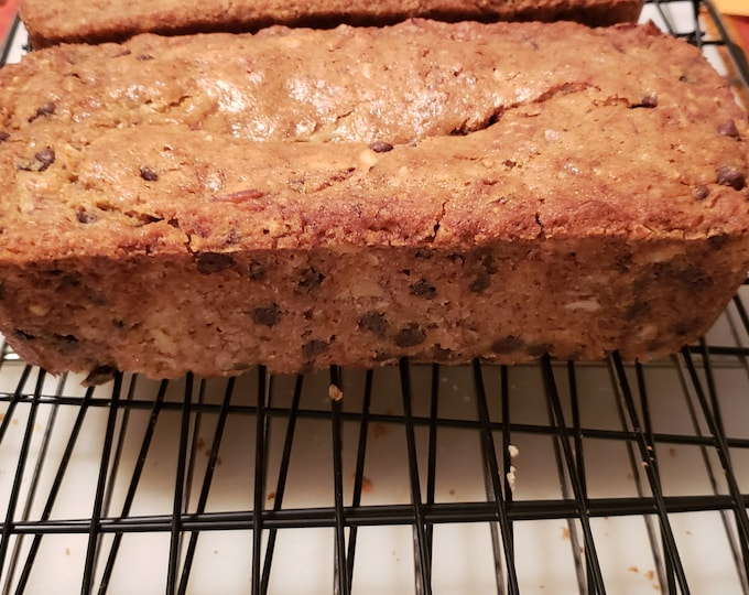 Banana chocolate chip and almond loaf