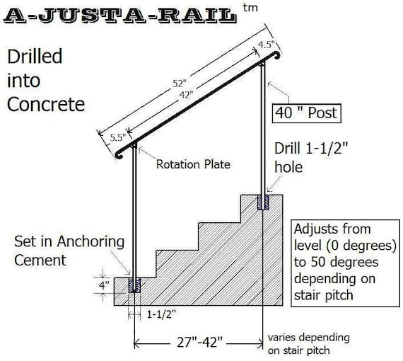 a justa rail 52 wrought iron step railing for drilling etsy rh etsy com