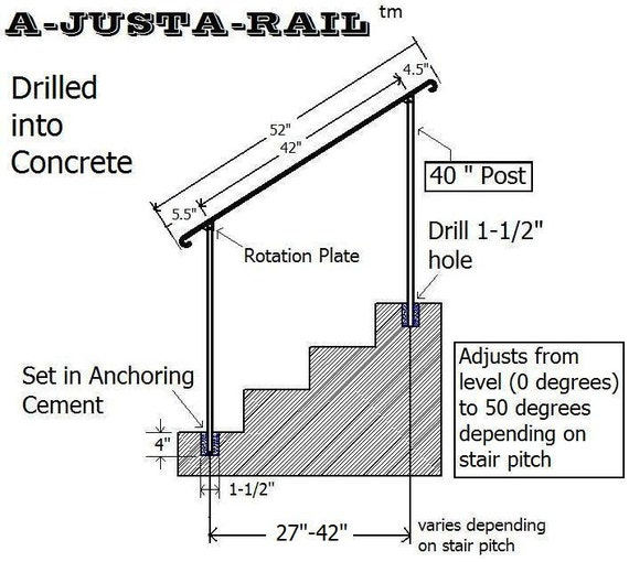 A Justa Rail 52 Wrought Iron Step Railing For Drilling Etsy