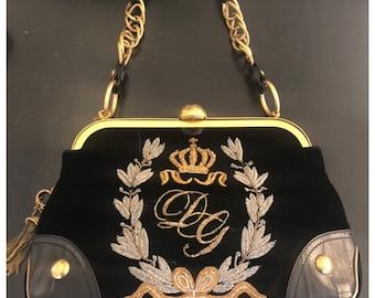 65035315f7f DOLCE   GABBANA velvet   leather bag