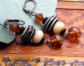 Lovely Neutral Color Earrings with Lampwork Swirl, Amber Bicones, Antique Swirl Drop NE210