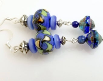 Pretty Shades of Blue Lampwork Swirl Beads with Picasso Saturn Glass Beads NE263