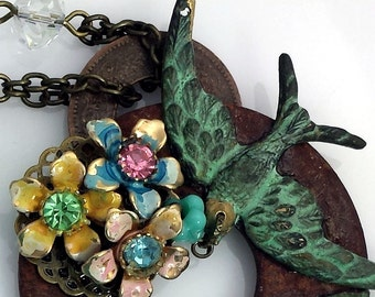 Rustic Necklace, RePurposed Romantic Vintage Victorian Style Necklace with Patina Birds. BoHo, Shabby Chic, Cross, VN109