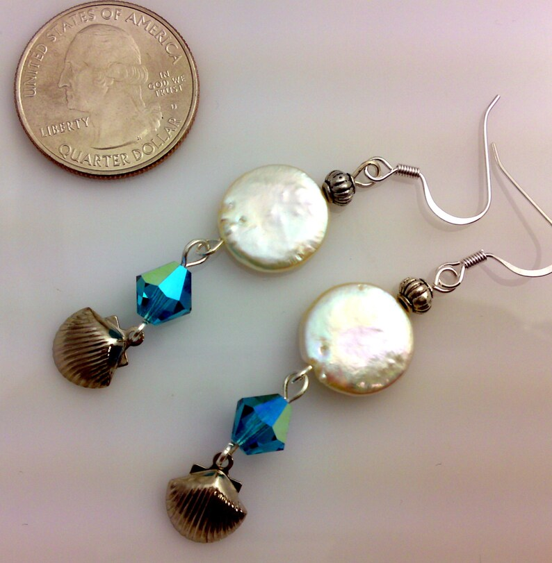 Coin Pearls Silver Shell Dangle Charms Ocean Blue Bicones Seaside Jewelry Beachy Style Ocean Inspired Shell and Pearl Drop Earrings