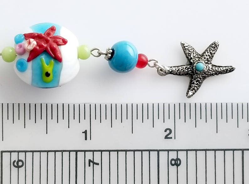 Fish Urchins Seaside Lampwork Earrings with Octopus Coral and Dangle with Seahorse and Starfish NE198