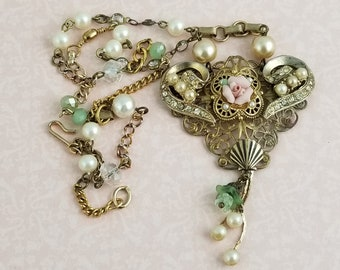 Victorian Romantic Necklace, Re-purposed Vintage Jewelry, Pearls, Rinestones,Roses, VN164