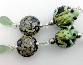 Wonderful Green Frog Bead Earrings with Lampwork Swirl Lentils, Pale Green Sea Glass Teardrop Dangle NE162