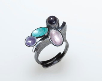 Turquoise Ring Enamel Ring Pink Oxidised Silver Ring Giampouras Collections Purple Enamel Ring Iolite Gemstone Adjustable Ring Blue