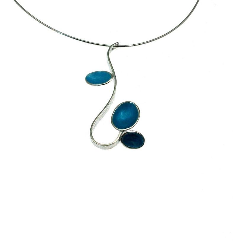 Teal Pendant Sterling Silver Pendant Geometric Necklace Oval Drops Giampouras Drop Necklace Enamel Pendant Minimal Pendant
