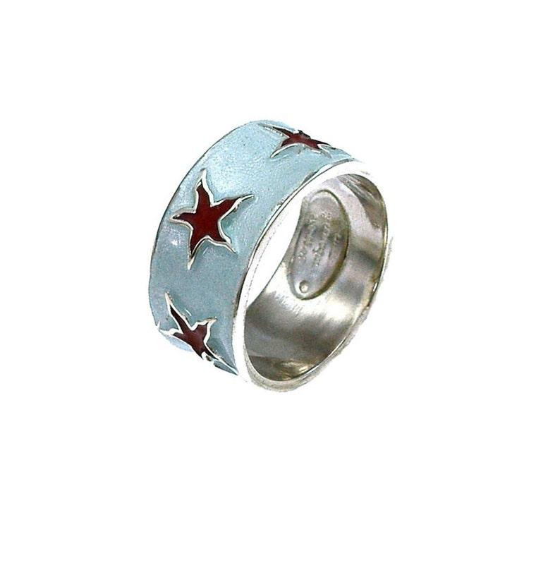 Silver mermaid starfish ring