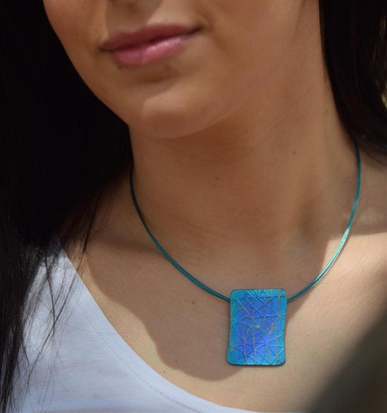 Purple Square Pendant Geometric Pendant Unique handmade Architecture Jewelry Rectangle Necklace Anodized Titanium Pendant Blue