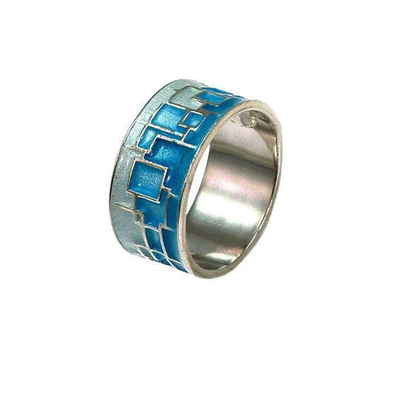 Titanium Circle Ring Titanium Ring Turquoise Ring Sterling Silver Ring Giampouras Collections Geometric Ring Statement Ring