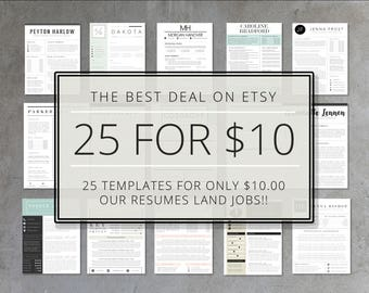 Resume Template Bundle | 25 Pack of Etsy's Top Selling Resume Templates | Resume, Cover Letter, Thank You, References | Instant Download