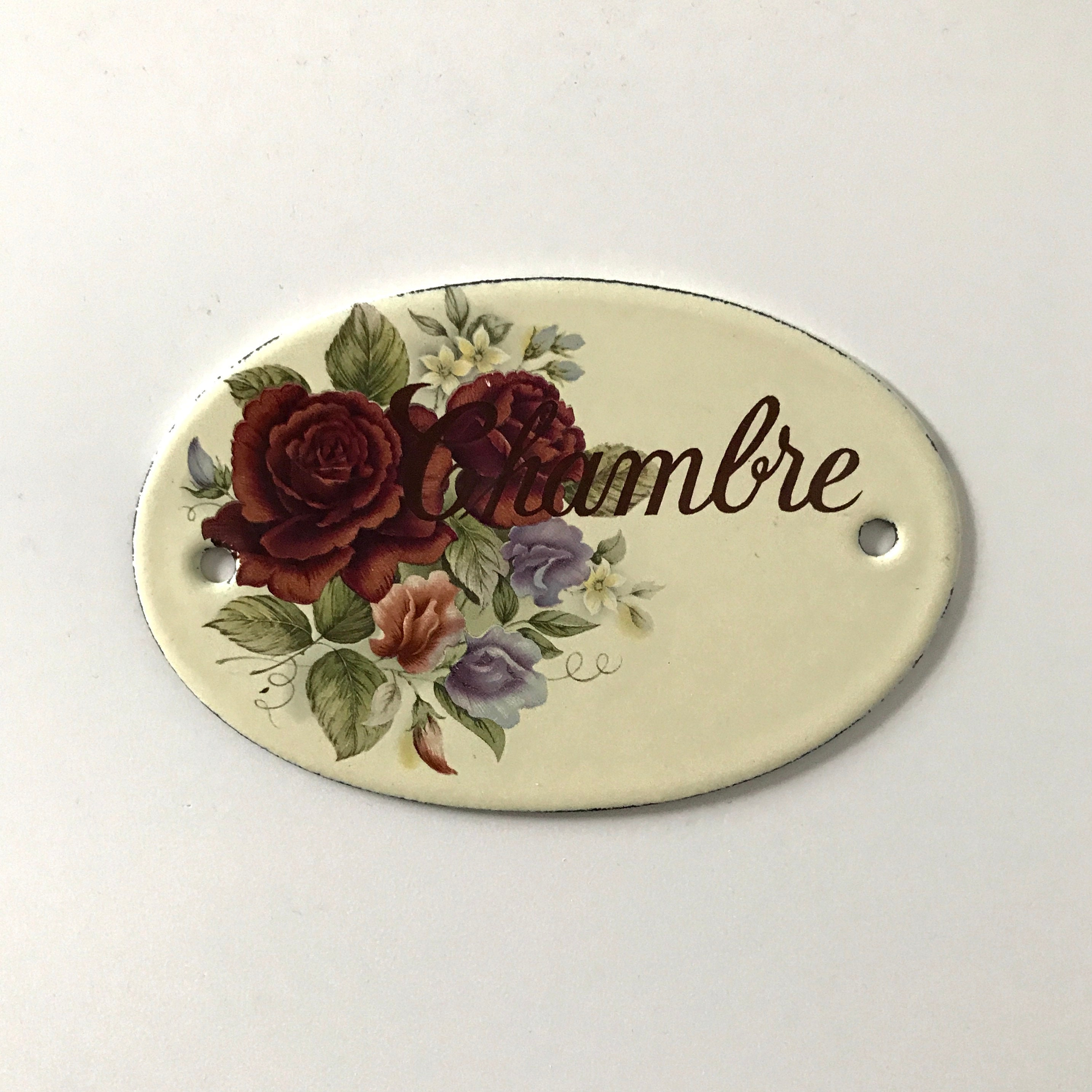 Chambre Style Shabby Chic french door sign / enamel / french / chambre / room / floral / off-white /  beige / cottage style / romantic / shabby chic / home decor