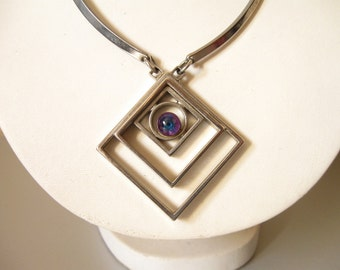 FRENCH MODERNIST NECKLACE / Pendant necklace / Mid century modern / 60s / Geometric / French jewelry