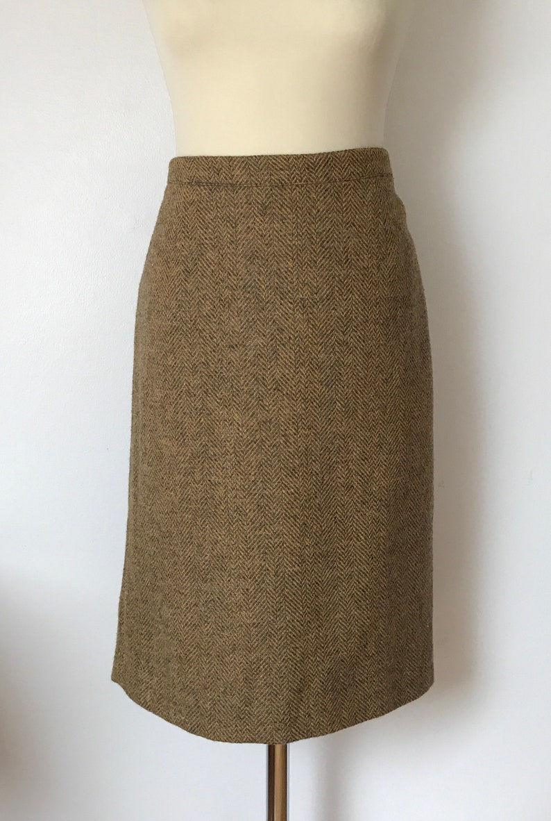 FRENCH WOOL SKIRT  Vintage skirt  Gray and yellow  Fashion  French vintage  Women  Straight skirt  Winter skirt  High quality skirt