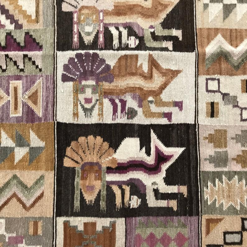 Etsy & STUNNING WALL HANGING / Carpet / Wall decor / Native american / Boho / Wool rug / South american / Flat weaving / Tribal rug / Textile art