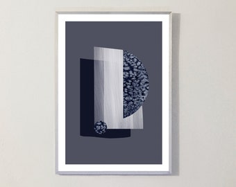 Print WATERCOLOR SHAPES III blue
