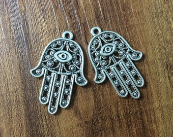 Free 10pcs Antique silver Hamsa Hand Charms Pendants for Jewelry Making 42x28mm