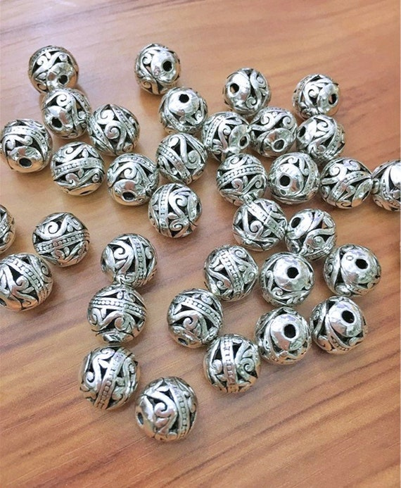 24 Antique silver beads Tibetan style spacer beads  jewelry supplies 8mm x 7mm