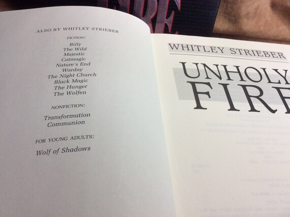 Vintage Book Unholy Fire By Whitley Strieber Etsy