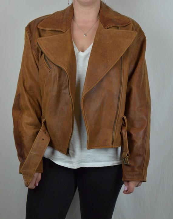 Vintage Leather Biker Jacket Brown Vakko Zipper Fr