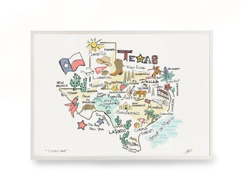 0348ade8 Texas map art | Etsy