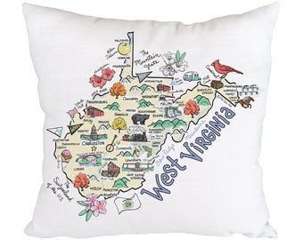 West Virginia Pillow Etsy
