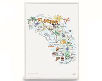 Watercolor Florida Map.Florida Watercolor Etsy