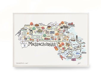 "Massachusetts Art, 9""x12"" Massachusetts Map, Massachusetts Print, Unframed, Printed on watercolor paper"