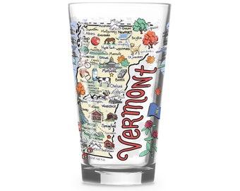 Vermont  Glass, Vermont Drinking Glass, Vermont Drinkware, Vermont Gift