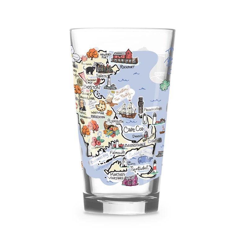 Massachusetts Drinking Glass Massachusetts Gift Massachusetts  Glass Massachusetts Drinkware