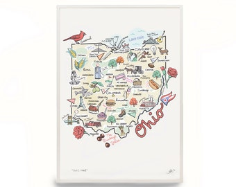 """Ohio Map, 9""""x12"""" Ohio Print, Unframed, Print Signed by Artist, Printed on watercolor paper"""