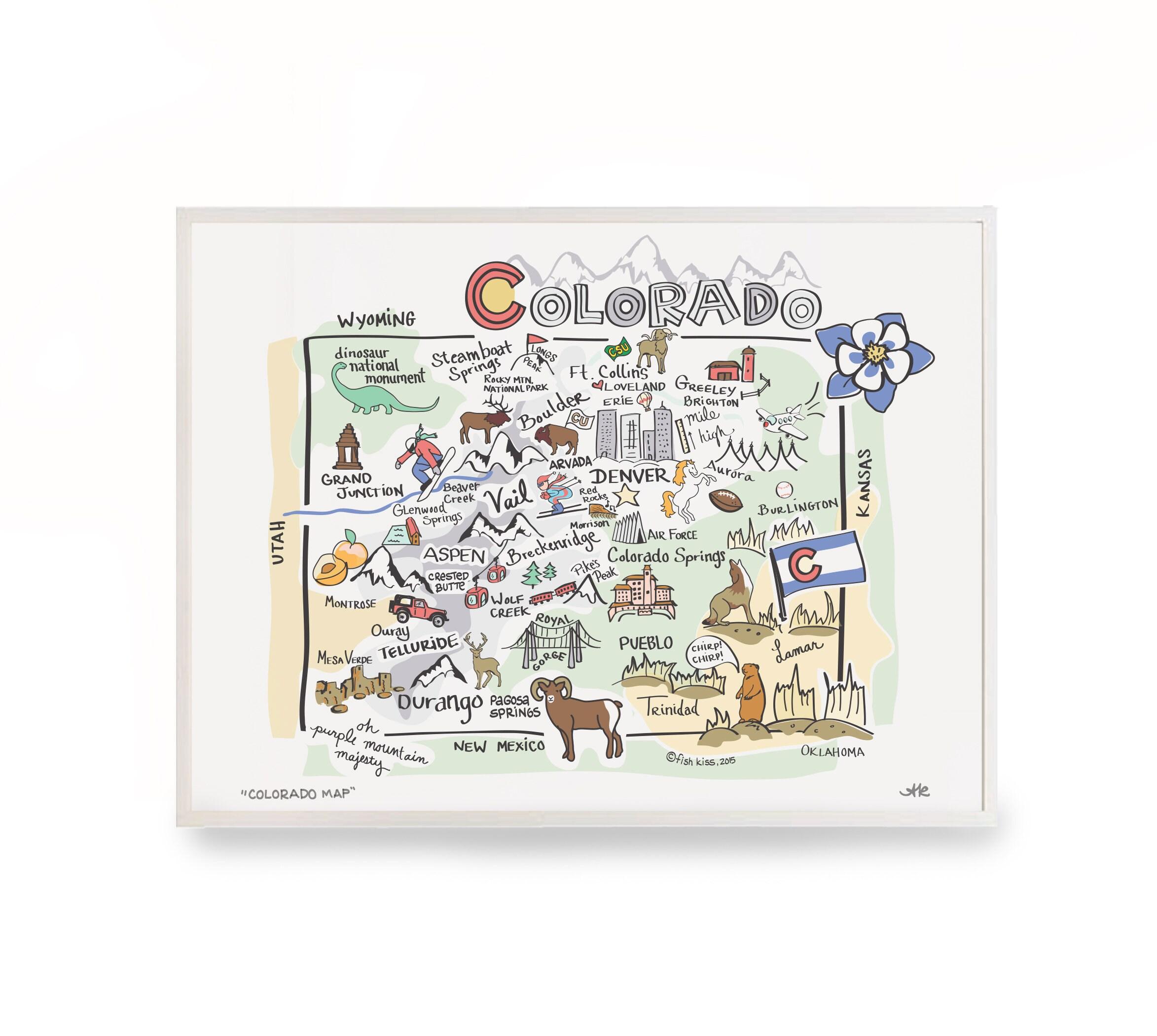 Colorado Map Art.Colorado Map Art 12x18 Colorado Map Colorado Etsy