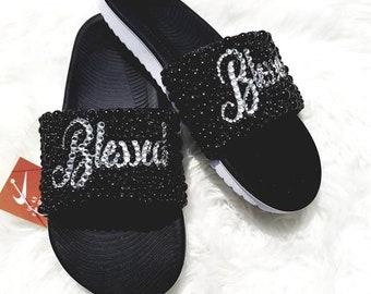 b28e0eea5b0ab6 Nike Slides Rhinestone Pearls Blessed Edition