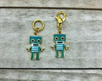 Teal Robot Buddies Knitting / Crochet Stitch Markers -set of 2