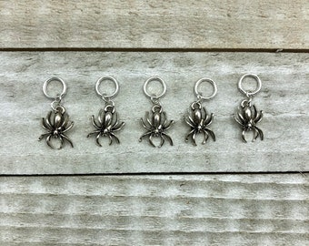 Halloween Spiders Knitting Stitch Markers -set of 5